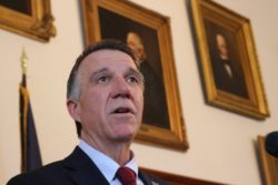 Gov. Phil Scott​ speaks at a news conference in April. File photo by Erin Mansfield/VTDigger