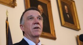 Gov. Phil Scott speaks at a news conference in April. File photo by Erin Mansfield/VTDigger